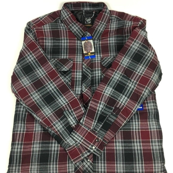 Bc Clothing Jackets Coats Mens Quilted Shirt Jacket Red Plaid